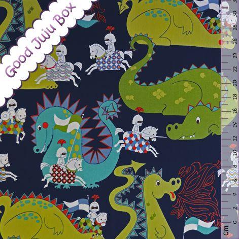Stoff Tiermotive - BW - Knight meets Dragon - Blau - Alexander Henry - ein Designerstück von Good-Juju-Box bei DaWanda
