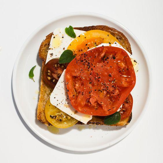Tomato-Feta Open-Face Sandwich