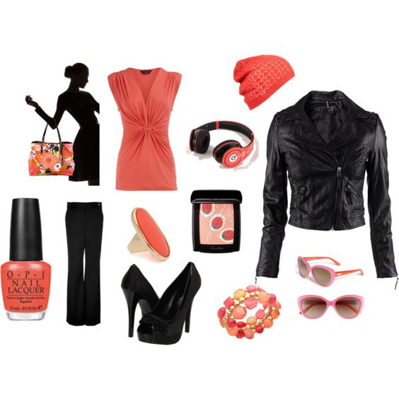 Corals and Black, created by #princess-lisa on #polyvore. #fashion #style Dorothy Perkins H&M