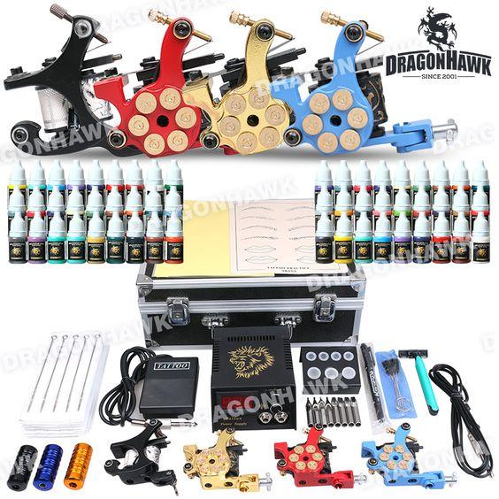 Professional Tattoo Kit 4 Machine Gun Power Supply 56 Color Inks Professional Tattoo Kit D176 for sale [D176DTT(4.0)] - US$121.00 : Dragonhawk tattoo supplies, tattoo kits,tattoo machines for sale global form tattoodiy.com