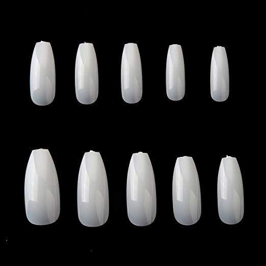 Amazon Com Makartt 500pcs Coffin Nails Fake Nail Tips Clear Full Cover Ballerina Acrylic False Nails 10 Size Natural Nail Art Transparent Nails Nail Art Hacks
