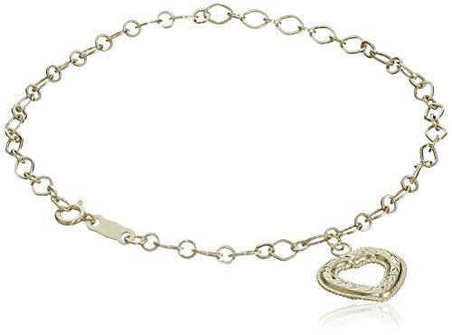 """10k Yellow Gold Diamond-Cut Dangle Heart Bracelet, 7.5"""" >>> More info could be found at the image url."""