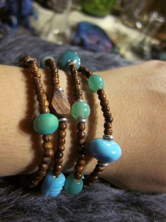 Four Handmade Beaded Bracelets