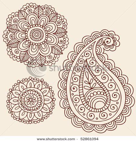 stock matrix : Hand-Drawn Henna Mehndi Tattoo Flowers and Paisley Doodle