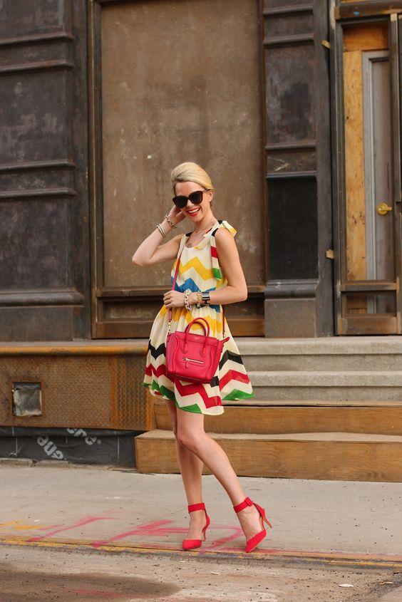 Colorful summer ensemble: Dorthy Perkins chevron-print dress, Zara heels, red lips and a red purse.