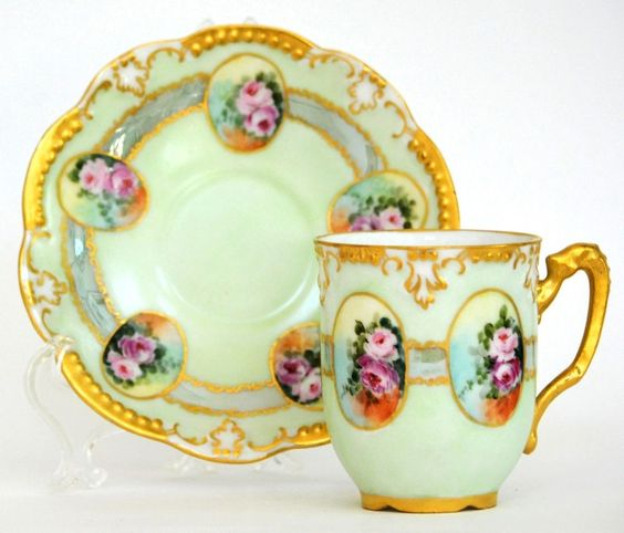LIMOGES HAND PAINTED ROSES DEMITASSE CUP SAUCER in Antiques, Decorative Arts…