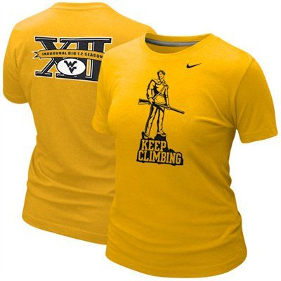 Nike West Virginia Mountaineers Ladies Big 12 Inaugural Season Fan T-Shirt - Old Gold