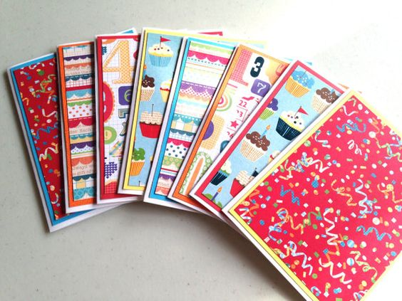 Birthday Set of 8 Coordinating Cards  by AnniesPaperGarden on Etsy, $15.00