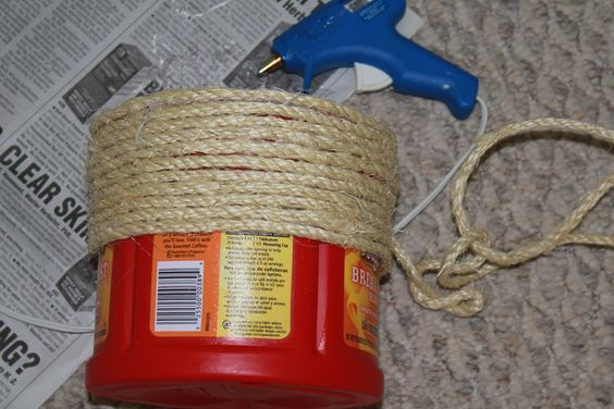 use rope for old coffe cans   Adventures of a Middle Sister: A Coffee Container & a Pickle Jar