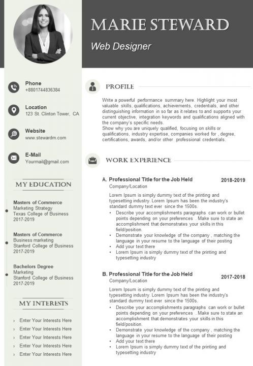 Graphic Designer Cv Example Template Templates Powerpoint