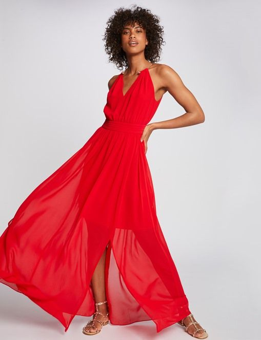 Robe longue fendue à col bijou Rouge Morgan , Robe Morgan en