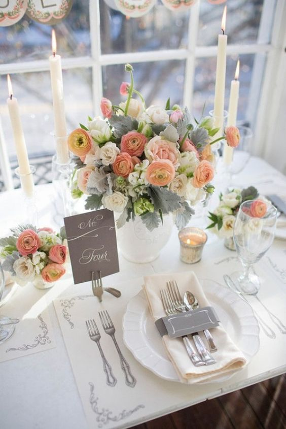 .... ♥♥ ....  #peach and #grey #wedding tablescape.... Peach for bridesmaids exchange grey for brown for grooms men