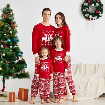 Matching Christmas Pjs for Family Christmas Morning Squad Letter Print Pajamas Set