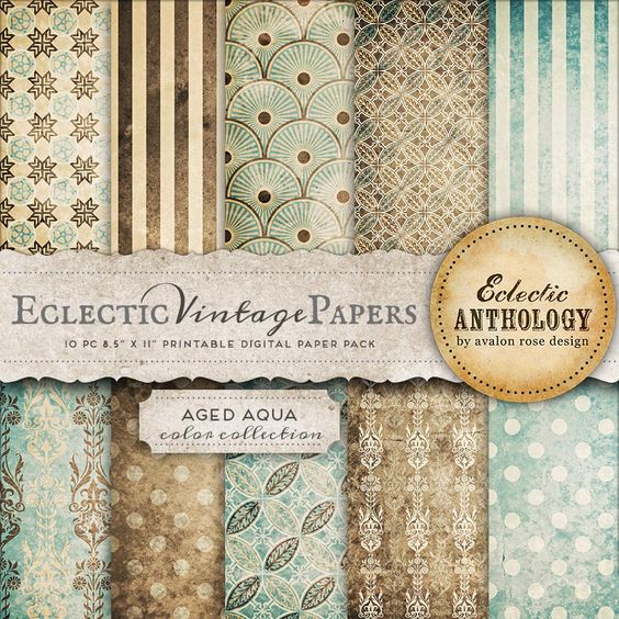 Aged Aqua Printable Scrapbook Papers: Love the patterns of this ...