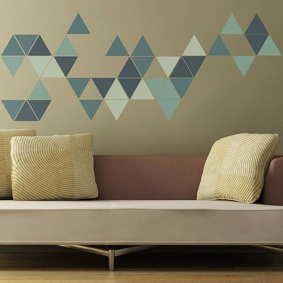 geometric triangles wall stickers by the binary box | notonthehighstreet.com