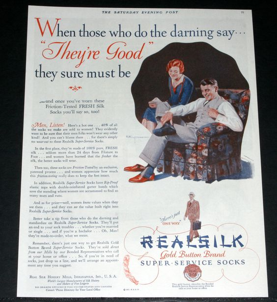 1927 Old Magazine Print Ad Real Silk Super Service Socks Gold Button Brand Art |