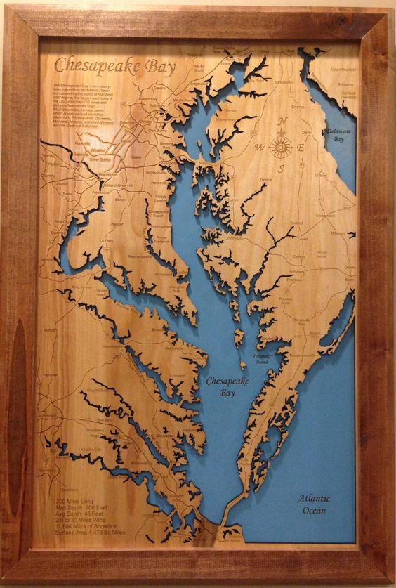 chesapeake bay virginia    maryland wood laser cut coastal map framed wall hanging