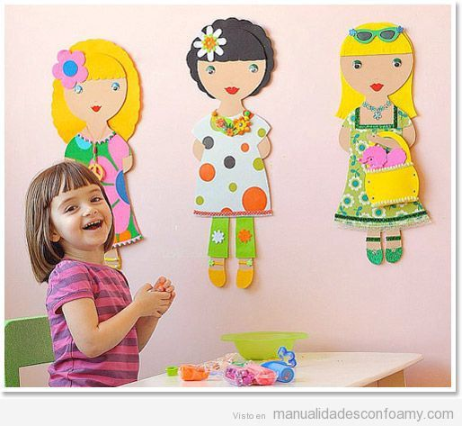 Mu ecas de goma eva grandes para poner en pared habitaci n - Decorar paredes infantiles con goma eva ...