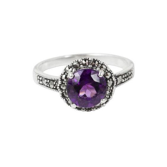 NOVICA Amethyst and Marcasite Sterling Silver Ring Artisan Jewelry (130 SAR) ❤ liked on Polyvore featuring jewelry, rings, purple, single stone, novica rings, novica, sterling silver marcasite ring, purple amethyst ring and amethyst jewelry