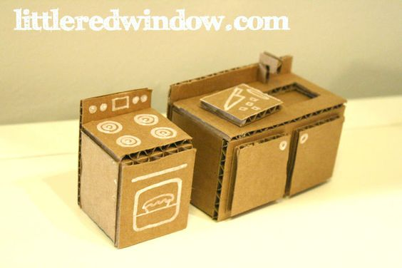 how to build dollhouse furniture out of cardboard and paper