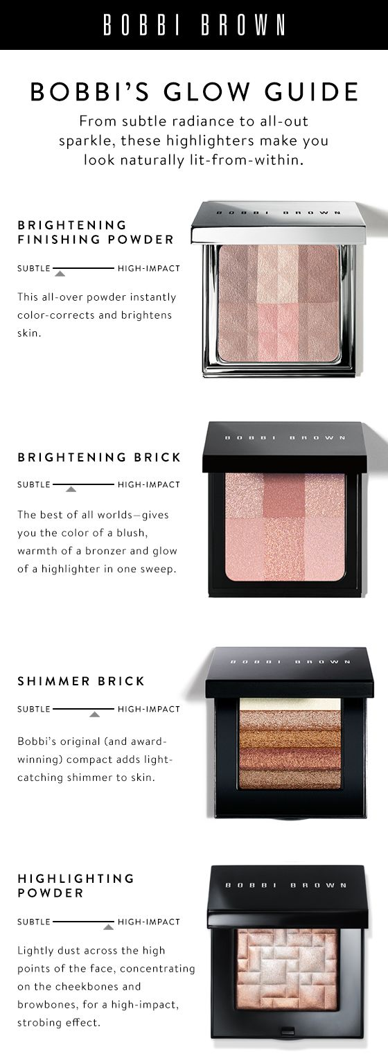 Whether you're after subtle radiance or all-out sparkle, Bobbi's Glow Guide will make you look naturally lit-from-within.