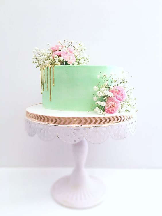 Mint Pink And Gold Drip Cake With Pink Carnations And Babys Breath Pink Baby Shower Cake Baby Shower Cakes Mint Green Baby Shower