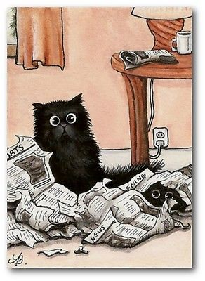 Black Cats Newspaper Sports Page Torn Up FuN - ArT LE Print ACEO