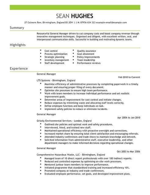 Management General Manager Cv Template Cv Samples Examples