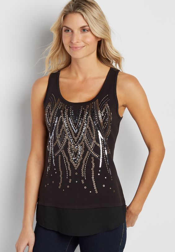 tank with mixed sequins and chiffon hem (original price, $32.00) available at #Maurices