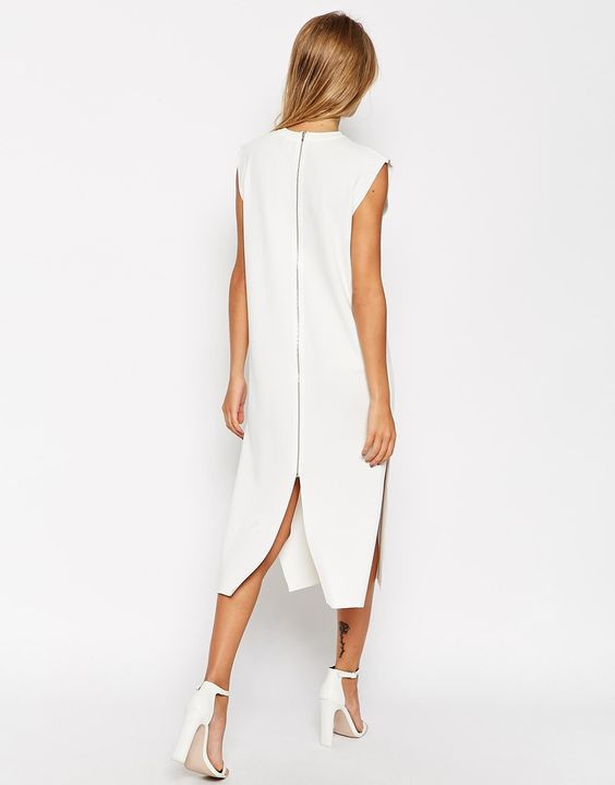Image 2 ofASOS Midi Dress In Structured Knit With Zip Back