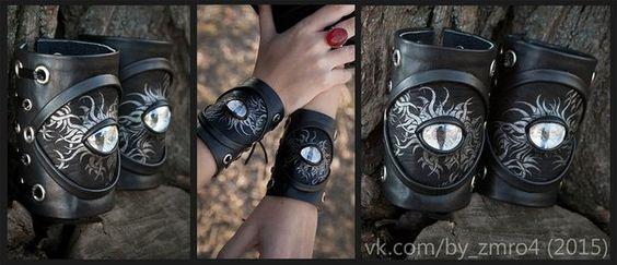 Wide bracelets medusa tentacles made of leather. Black by byZmro4