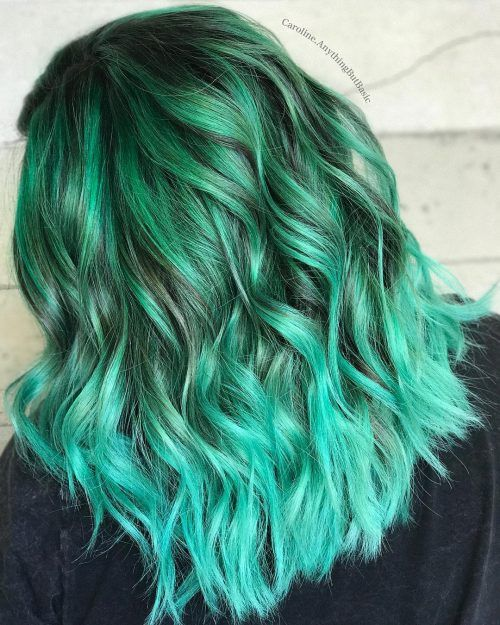 Dark To Light Mint Green Ombre Mint Green Hair Brunette Hair Color Ombre Hair Color