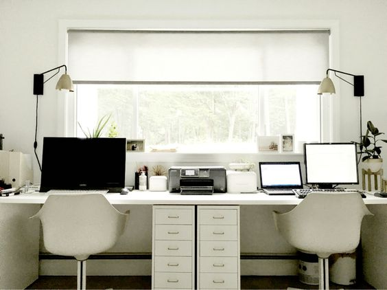 Ikea Hack Faux Built In Double Desks Minimalistic Scandinavian Style White Office Grey Roller Shade Coastal Bedrooms Small Home Offices Home