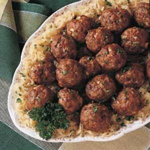 German Meatballs Recipe | Taste of Home Recipes. Also has ground pork. http://www.tasteofhome.com/recipes/german-meatballs