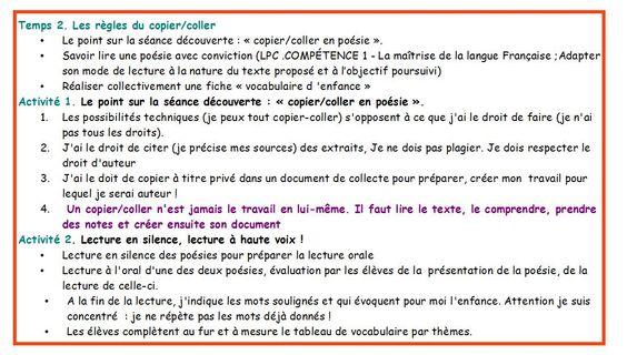 Français, documentation,5ème- Poésie et enfance. Du copier-coller au copier-créer, séance 2.
