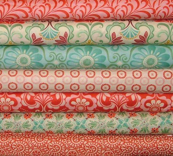 So pretty! Pile of fabric coral red aqua