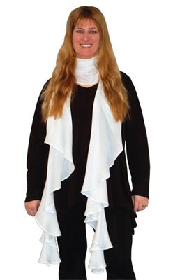 BR420 - The scarf is a totally FLAT piece of fabric in the shape of a giant croissant or crescent.�No gathers, no folds, no ruffles. It's FLAT!