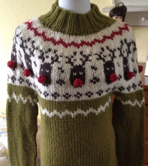 Free Knitting Pattern for Rudolph Sweater - This pullover by DROPS Design fea...