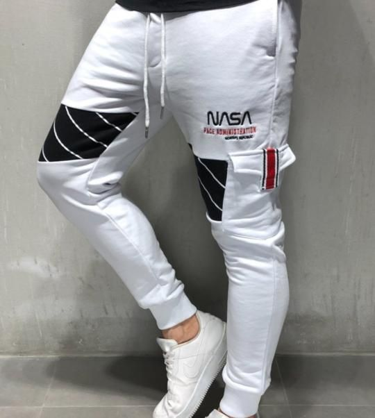 Jogger Nasa Cargo Sweatpants Nasa Embroidery Limited Edition White Sweatpants Skinny Fit Nasa