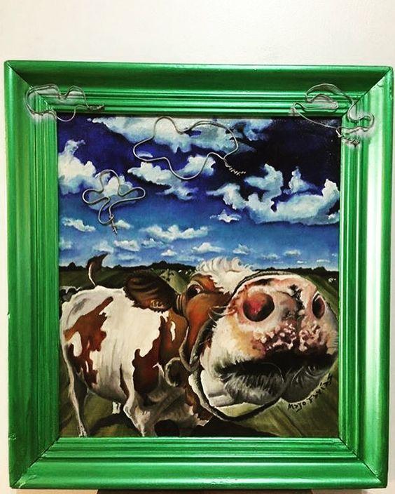 Técnica mixta. Oleo al agua sobre tela + alambre montado sobre marco antiguo. Por Majo Farias. #oleoalagua # arte # Pintura # dibujo # oleo.