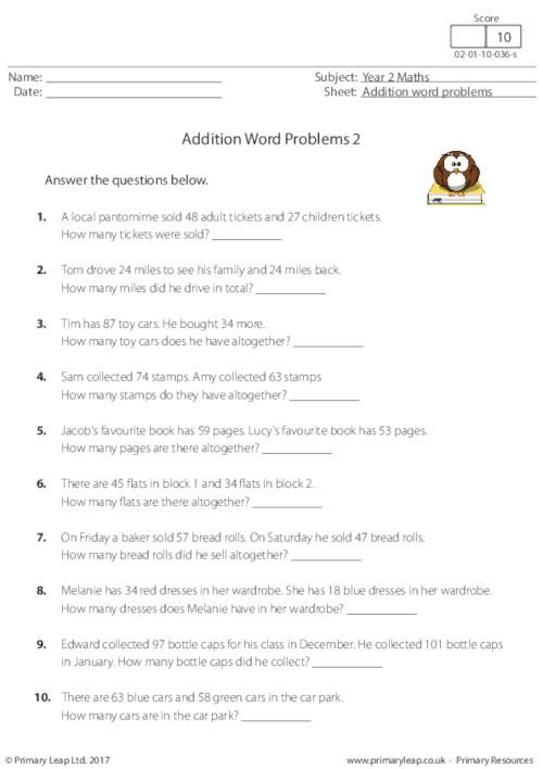 Year 2 Printable Resources Free Worksheets For Kids Primaryleap Co Uk In 2020 Addition Words Addition Word Problems Word Problems