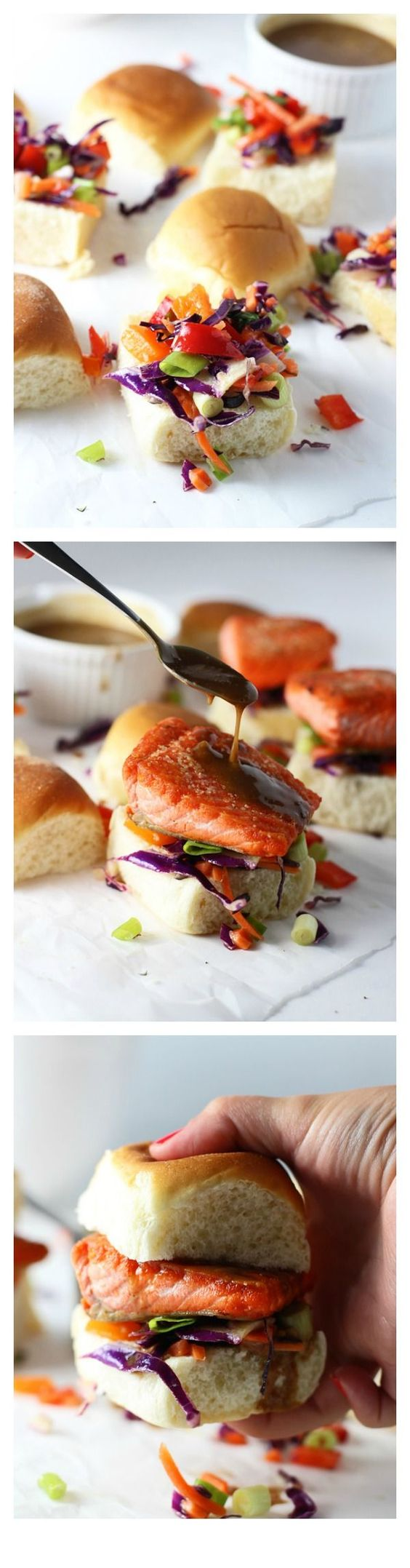 Salmon Sliders with (Epic!) Peanut Sauce and Asian Sesame Slaw via cookingforkeeps.com