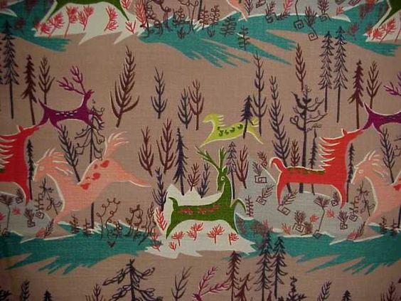 barkcloth | This vibrantly colored barkcloth is up for bid ...
