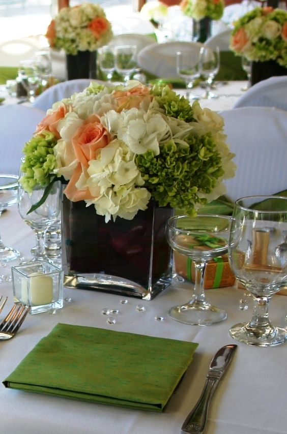Peach ivory green flower centerpiece bridgitte brown