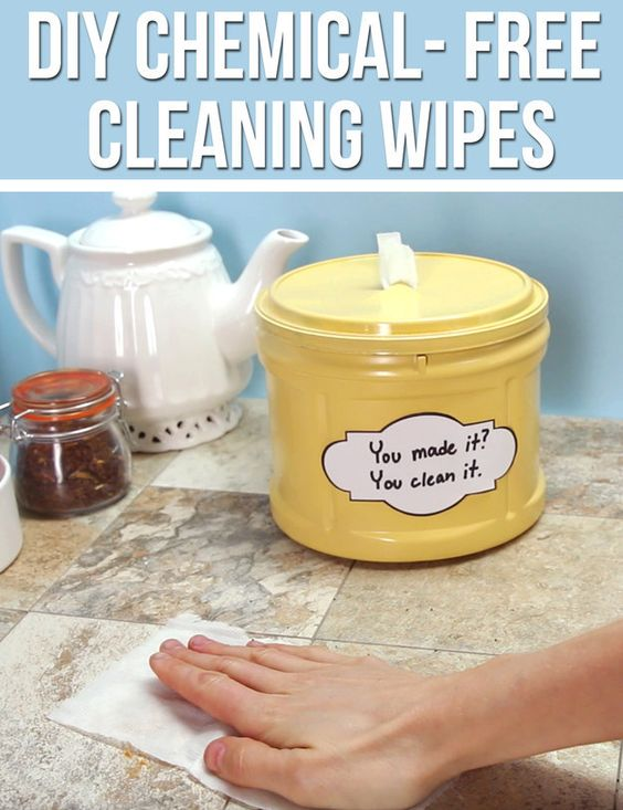 Directions for DIY Chemical-Free Cleaning Wipes with 1/2 cup vinegar, 1/4 cup water, 1/4 cup rubbing alcohol, 1 tsp dish soap, Citrus essential oil 8-10 drops (optional).