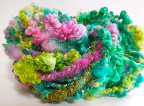 Spring+Garden+Handspun+Art+Yarn+Coily+Ply+by+RainbowTwistShop