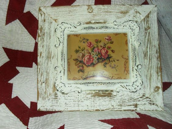 Barn Wood Picture Frame With Shabby Chic Rose by ShuggiesAttic, $28.00