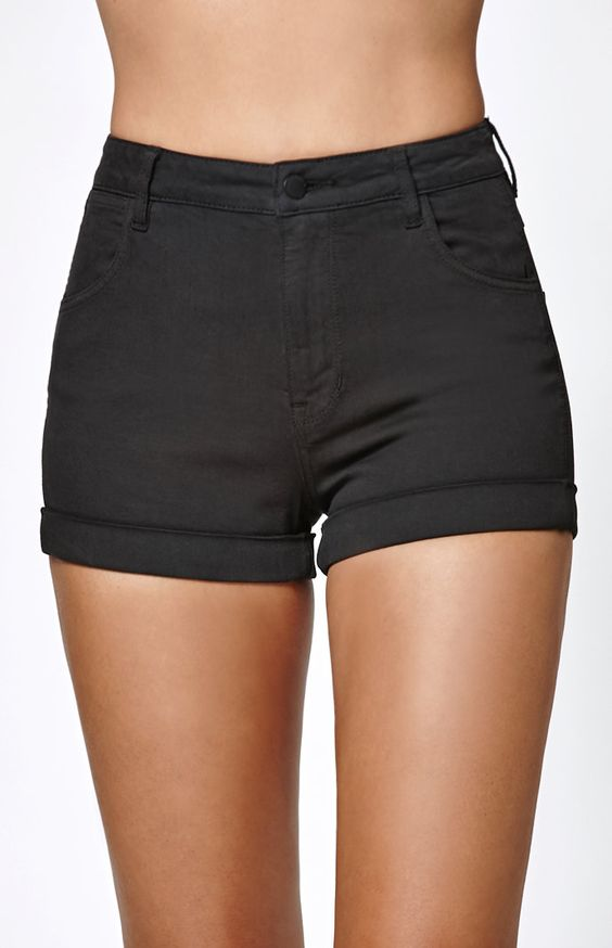 Coal Super High Rise Cuffed Denim Shorts