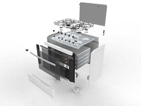 Modelagem Paramétrica  Projeto Fogão Vista explodida Software SolidWorks Notus Design