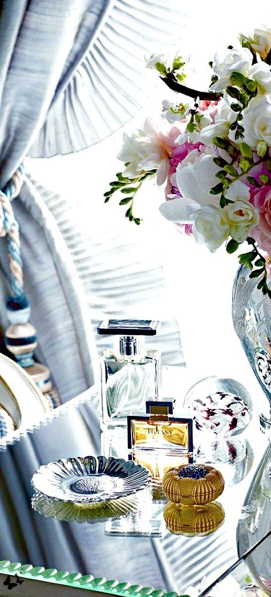 Favorite Things: Home Interiors Exteriors, Perfume Perfume, Interiors Accessorize, Vignette, Add Flowers, Decor Flowers